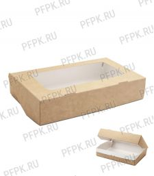 Коробка бум. V1000мл 200х120мм h40мм крафт (с окном) 411-013