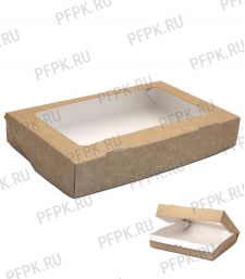 Коробка бум. V1400мл 250х150мм h40мм крафт (с окном) 411-015