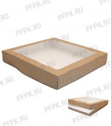 Коробка бум. V2500мл 260х260мм h40мм крафт (с окном) 411-018