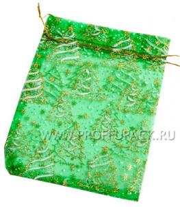 Мешочек из органзы малый Ёлки (зеленый)