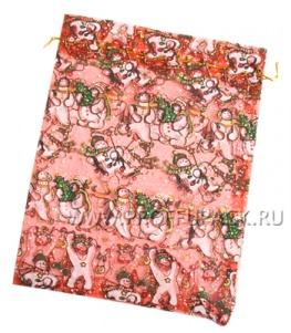 Мешочек из органзы большой Снеговик (красный)