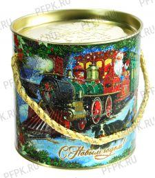 Картонная туба 0,4-0,5кг, диаметр 120мм Поезд Деда Мороза