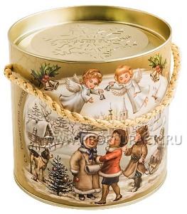 Картонная туба 0,4-0,5кг с крышкой, диаметр 120мм Рождественские колокольчики