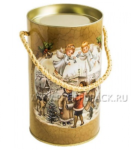 Картонная туба 0,5-0,7кг с крышкой, диаметр 100мм Рождественская