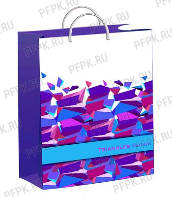 Пакет СОФТПЛАСТ с пласт.ручкой 40х30 (140мкм) мяг.пластик ТИКО Треугольный дизайн
