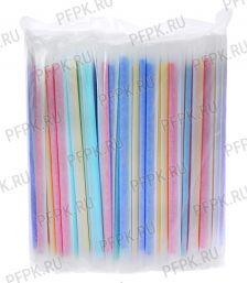 Трубочки для молочного коктейля 8х240мм в индивид. упаковке (уп. 250 шт.) Цветные