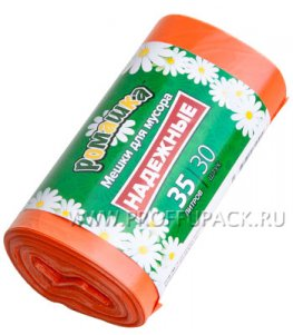 Мешки д/м 35л, РОМАШКА [рул.30 шт.] ПВД, 50х60 (ВЛ-036-30) Надежные оранжевые