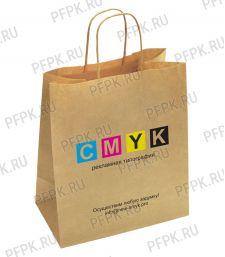 Пакет бум. с кручеными ручками 240х140х280, крафт CMYK; 250 шт