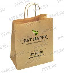 Пакет бум. с кручеными ручками 350х150х450, крафт EAT HAPPY; 200 шт