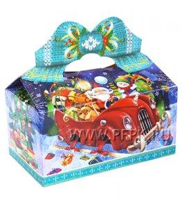 Коробка картон. 800 гр Снежки Везем подарки