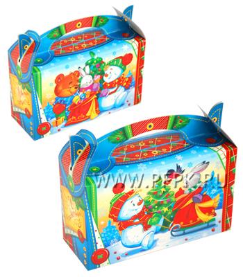 Коробка картон. 500 гр Новогодняя