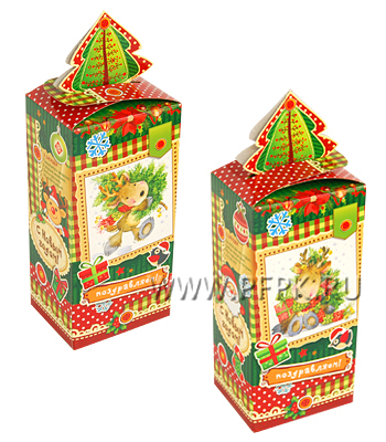 Коробка картон. 500 гр Новогодний сувенир