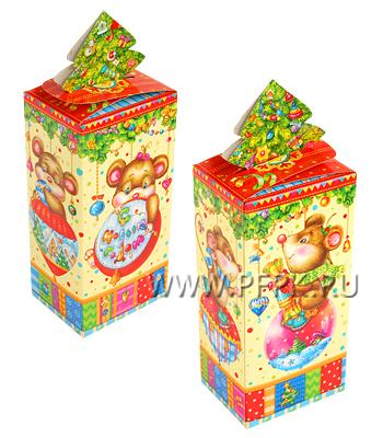 Коробка картон. 500 гр Новогодний Мышонок