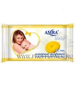 Салфетки влажн. AMRA BABY детские (уп. 48 шт.) С экстрактом ромашки