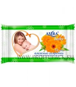 Салфетки влажн. AMRA BABY детские (уп. 72 шт.) С экстрактом календулы
