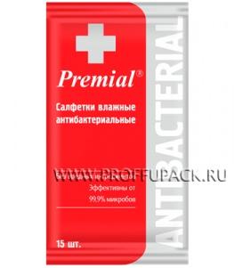 Салфетки влажн. PREMIAL антибактериальные (уп. 15 шт.)