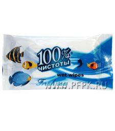 Салфетки влажн. 100% Чистоты (уп. 10 шт.) Морская свежесть