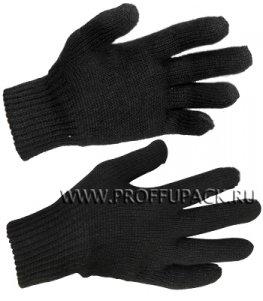 Перчатки зимние акриловые ДВОЙНЫЕ Черные