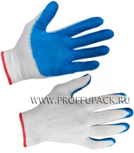 Перчатки нейлоновые с нитриловым обливом (25 гр) Белые с синим обливом