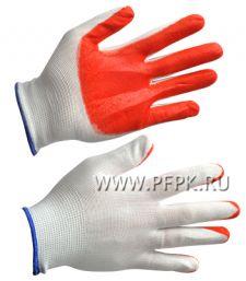 Перчатки нейлоновые с нитриловым обливом (25 гр) Белые с оранжевым обливом [12/960]