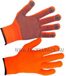 Перчатки зимние акриловые ТОЧКА Оранжевые