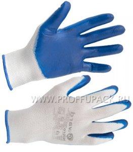 Перчатки нейлоновые с нитриловым обливом (35 гр) Белые с синим обливом