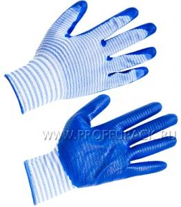 Перчатки нейлоновые с нитриловым обливом (35 гр) Полосатые с синим обливом