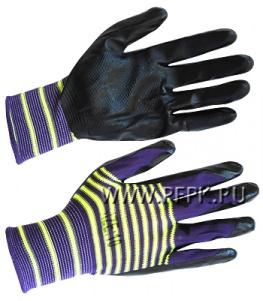Перчатки нейлоновые с нитриловым обливом (35 гр) Цветные с черным обливом