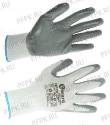 Перчатки нейлоновые с нитриловым обливом (35 гр) Белые с серым обливом