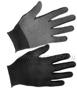 Перчатки нейлоновые с покрытием ТОЧКА Черные