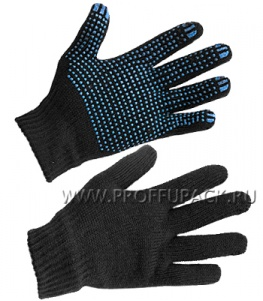 Перчатки зимние ТОЧКА 9-нитка 7,5-класс Черные