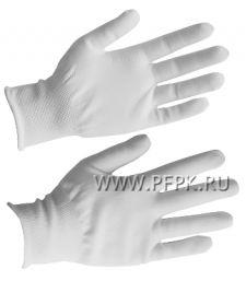 Перчатки нейлоновые Люкс Белые (PSV033P-размер 10) [10/300]