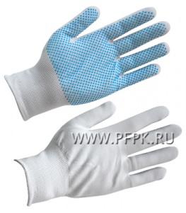 Перчатки нейлоновые Люкс Белые с микроточкой