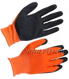 Перчатки нейлоновые с вспененным латексом Оранжевые с черным обливом