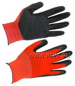 Перчатки нейлоновые с вспененным латексом Красные с черным обливом