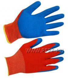 Перчатки нейлоновые с вспененным латексом Красные с синим обливом