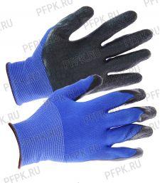 Перчатки нейлоновые с вспененным латексом Синие с черным обливом