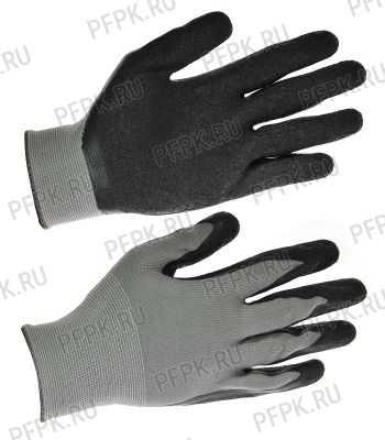 Перчатки нейлоновые с вспененным латексом Серые с черным обливом