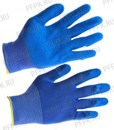 Перчатки нейлоновые с вспененным латексом Синие с синим обливом [5/250]