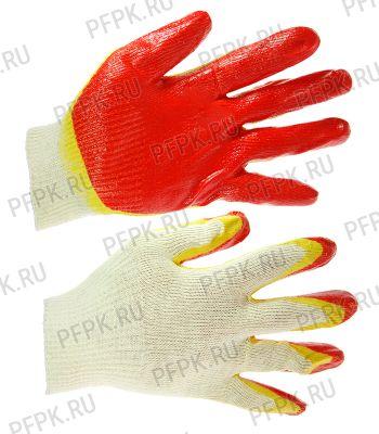 Перчатки х/б с 2-м латексным покрытием Красно-желтые 13-кл.