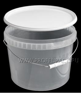 Ведро 11л, д-р 300мм (без крышки) Прозрачное (металлическая ручка)