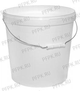 Ведро 20л, д-р 340мм (без крышки) Белое (металлическая ручка)