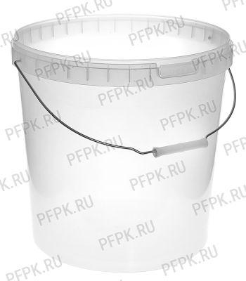 Ведро 20л, д-р 340мм (без крышки) Прозрачное (металлическая ручка)