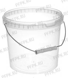 Ведро 5,8л, д-р 220мм (без крышки) Прозрачное (металлическая ручка)
