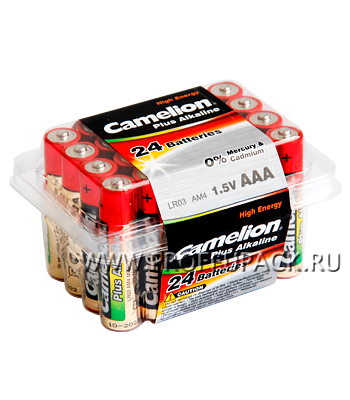 Батарейки CAMELION Plus LR3 (AAA) алкалин (коробка 24 шт)