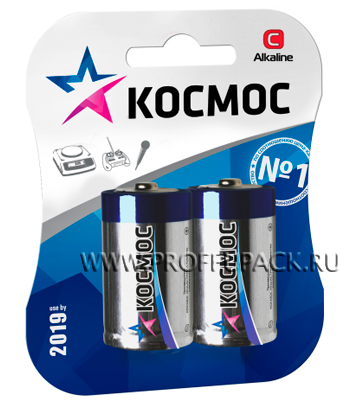 Батарейки КОСМОС LR14 (C) алкалин (блистер 2 шт.)