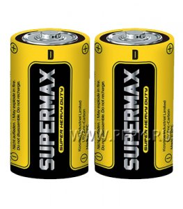 Батарейки SUPERMAX R20 солевые (спайка 2шт)