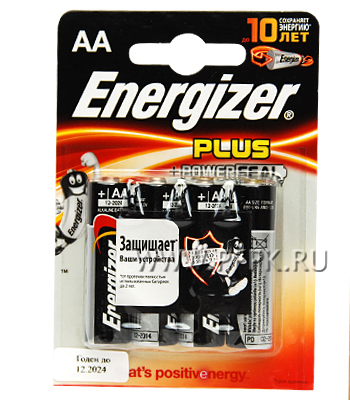 Батарейки ENERGIZER Plus LR6 (АА) алкалин (блистер 4 шт)
