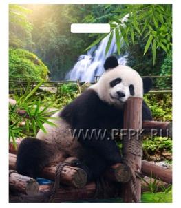 БРОНЗ, вырубная ручка, 38х45+3 (60мкм) ГЛЯНЕЦ, ТИКО Задумчивый панда