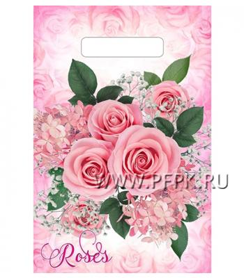 БУТИК, вырубная ручка, 20х30 (30мкм) ПВД, ТИКО Воздушные розы